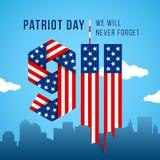 U.S.A. 9 Cartolina d'auguri di giorno di 11 patriota Cifre fatte della bandiera americana Immagini Stock Libere da Diritti