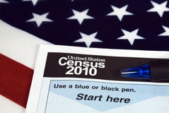 United States census form on flag royalty free stock photography