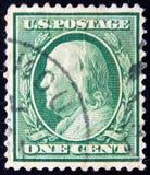 U.S.A. circa un centesimo B Franklin 1922 Fotografia Stock