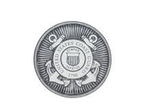 U.S. Coast Grard  official seal. U.S. Coast Guard official seal on a white background Stock Photography