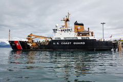 U S Coast Guard cutter docked in Alaskan waters in summer Stock Images