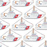 U.S. Coast Guard day boat seamless pattern. Hand-drawn U.S. Coast Guard day background, card, banner with boat Royalty Free Stock Photography