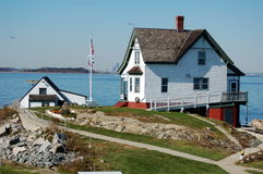 U.S. Coast Guard Lighthouse Cottage Stock Images