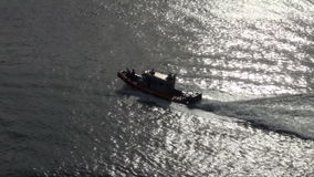 U.S. Coast Guard Patrol Boat. US Coast Guard Port Security Boat San Diego California - High Definition Video - Editorial stock video