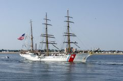 U. S. Coast Guard training cutter Eagle nearing New Bedford royalty free stock photos