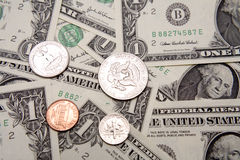 U.S. coins & cash Royalty Free Stock Photos