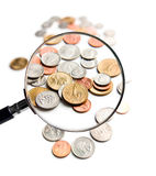 U.S. Coins magnification magnifier Stock Image