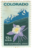 U.S. Colorado Postage Stamp. Canceled 13 cent  United States of America Colorado stamp.  The Centennial State Stock Photo