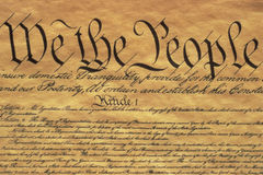 U.S. Constitution. This is the Preamble to the U.S. Constitution. It starts with the phrase We The People and shows only some of the writing from the upper left Stock Image
