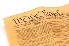 U.S. Constitution - We The People. Detail of U.S. Constitution on white background Stock Image