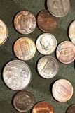 U.s. currency. A picture of american coins in different denominations Stock Images