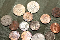 U.s. currency. A picture of american coins in different denominations Stock Photo