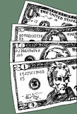U.S. Currency. Hand drawn close up of American money vector illustration