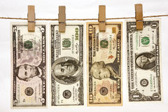 U.s. Currency Hanging On Clothesline Stock Image