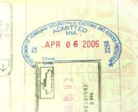 U.S. Customs and Immigration Passport Stamp Stock Images