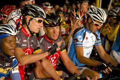 U S cyclist Lance Armstrong. With fellow cyclists at the early pre-dawn start of the Cape Argus Cycle race 2010 Cape Town Royalty Free Stock Photos