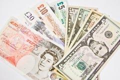 U.S. dólar e de libra esterlina Imagem de Stock Royalty Free