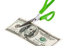 U.S. dólares de contas e tesouras Fotografia de Stock Royalty Free
