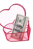 U.S. dólares de contas em um coração Imagem de Stock Royalty Free