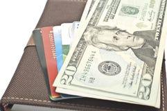 U.S. dólares e cartões de crédito Foto de Stock Royalty Free