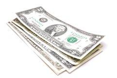 U.S. dólares em um fundo branco Imagens de Stock Royalty Free