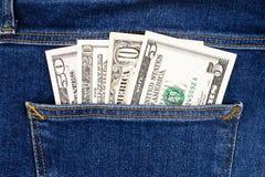 U S Dólares en el bolsillo trasero de los vaqueros Cierre para arriba Fotos de archivo
