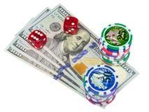 U S de dollars, dobbelen en het spaandersspel stock afbeeldingen