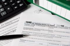 U S Declaração de rendimentos individual da renda imagens de stock
