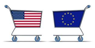 U.S.A. Deficit do excesso do mercado do comércio da União Europeia Imagens de Stock