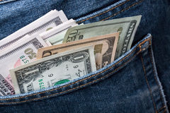 U.S. Dollar. Notes in a blue jeans Royalty Free Stock Photo