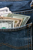 U.S. Dollar. Notes in a blue jeans Royalty Free Stock Photos