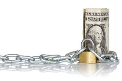 U.S. dollar banknote with lock and chain Stock Images