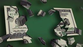 U S $100 Dollar Bill Explodes (HD) lizenzfreie abbildung