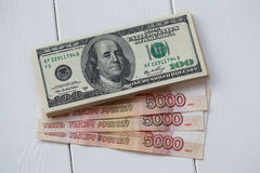 U.S. Dollar Bills and Russian Rubles. Stock Images