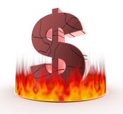 U.S. dollar and fire. Collapse of the dollar. Burn intensely. Represents the exchange rate instability. Three-dimensional character of the dollar. Characters are Royalty Free Stock Images