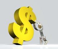 U.s. dollar mens die het symbool van de de V.S.dollar steunt Royalty-vrije Stock Foto's