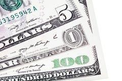 U.S. dollar money stacked, isolated on white. stock images
