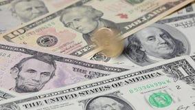 U.S.dollar spiraling stock footage