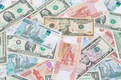 U.S. Dollar und russische Rubel Stockfotos