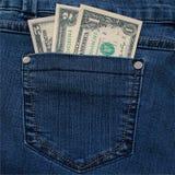U.S. dollari nella tasca posteriore dei jeans Immagini Stock Libere da Diritti