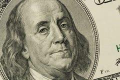 U.s. dollarräkning, Benjamin Franklin Fotografering för Bildbyråer