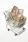 U.s. dollarräkning med korgen Royaltyfria Bilder