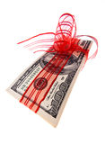 U.S. dollars as a cash gift certificates. American dollars cash receipts for a gift Royalty Free Stock Photos
