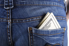 U.S. dollars in the back jeans pocket. S Royalty Free Stock Photo
