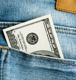 U.S. dollars in the back jeans pocket Stock Image