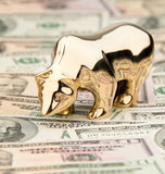 U.S. dollars banknotes with Bull and Bear Royalty Free Stock Images