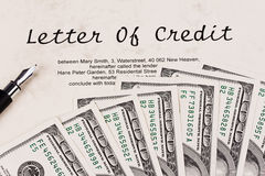 U.S. dollars bills and English credit Royalty Free Stock Photos