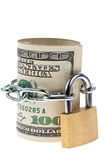 U.S. dollars bills are locked with a lock Royalty Free Stock Photos