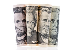 U.S. dollars bills. Portraits. Stock Photo
