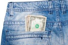 U.S. dollars dans la poche de jeans Images stock